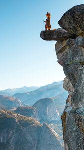 Preview wallpaper rock, cliff, dinosaur, funny