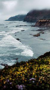 Preview wallpaper rock, cliff, sea, waves, landscape