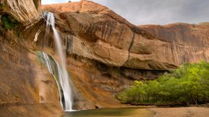 Preview wallpaper rock, cliff, waterfall, river, nature, landscape