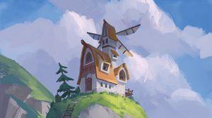 Preview wallpaper rock, house, mill, landscape, art