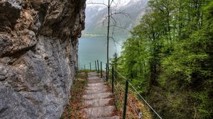 Preview wallpaper rock, lake, stairs, trees, slope, landscape