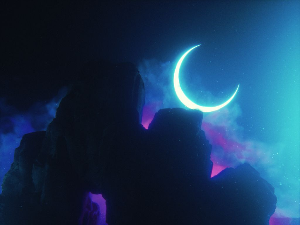 1024x768 Wallpaper rock, neon, smoke, moon, light, bright