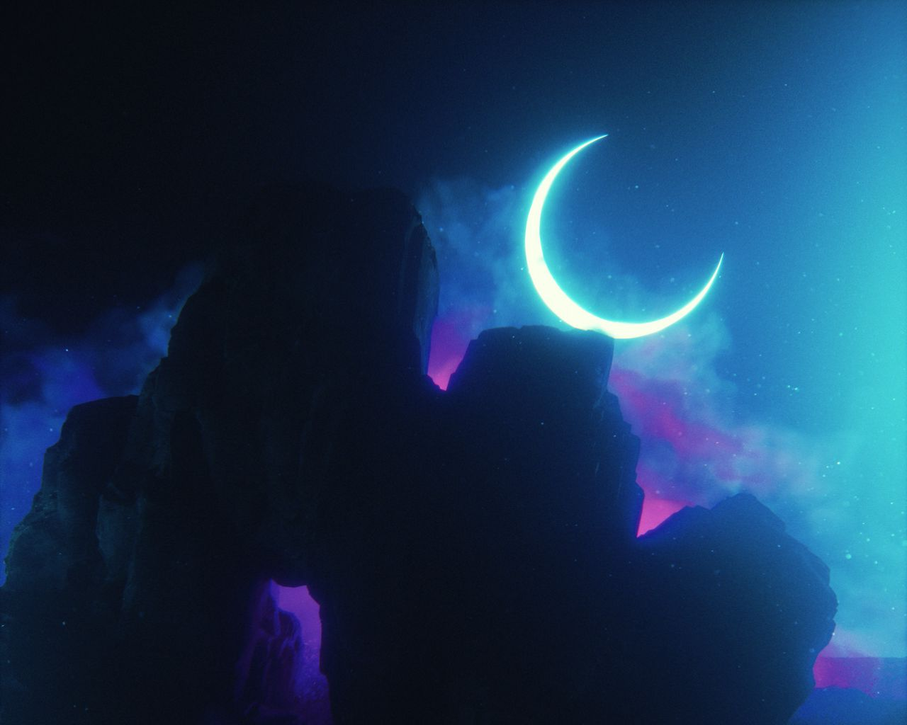 1280x1024 Wallpaper rock, neon, smoke, moon, light, bright