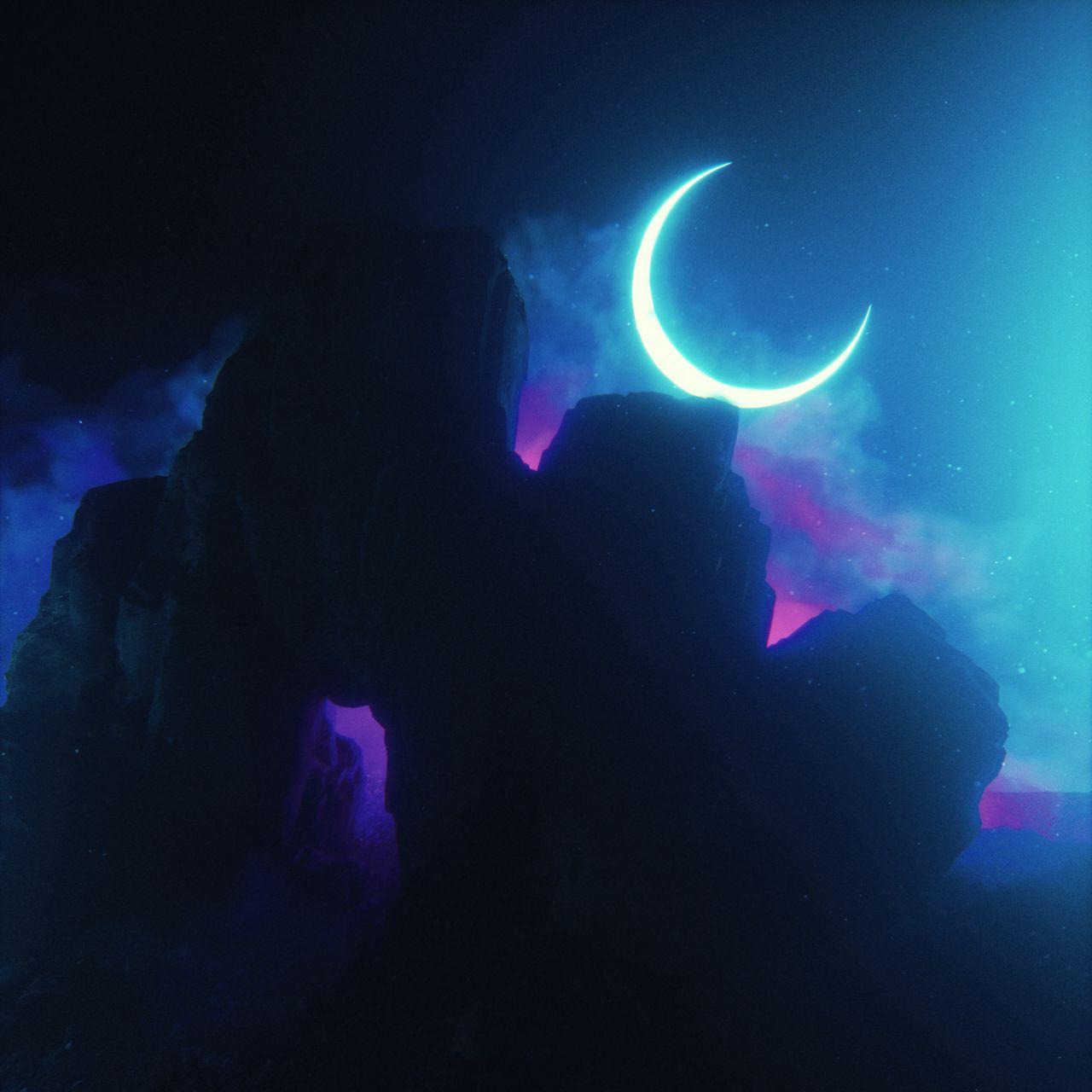 1280x1280 Wallpaper rock, neon, smoke, moon, light, bright