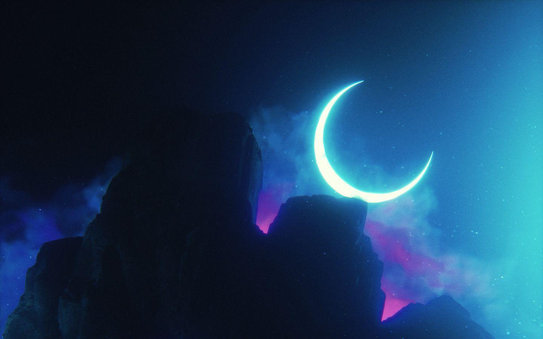 1440x900 Wallpaper rock, neon, smoke, moon, light, bright