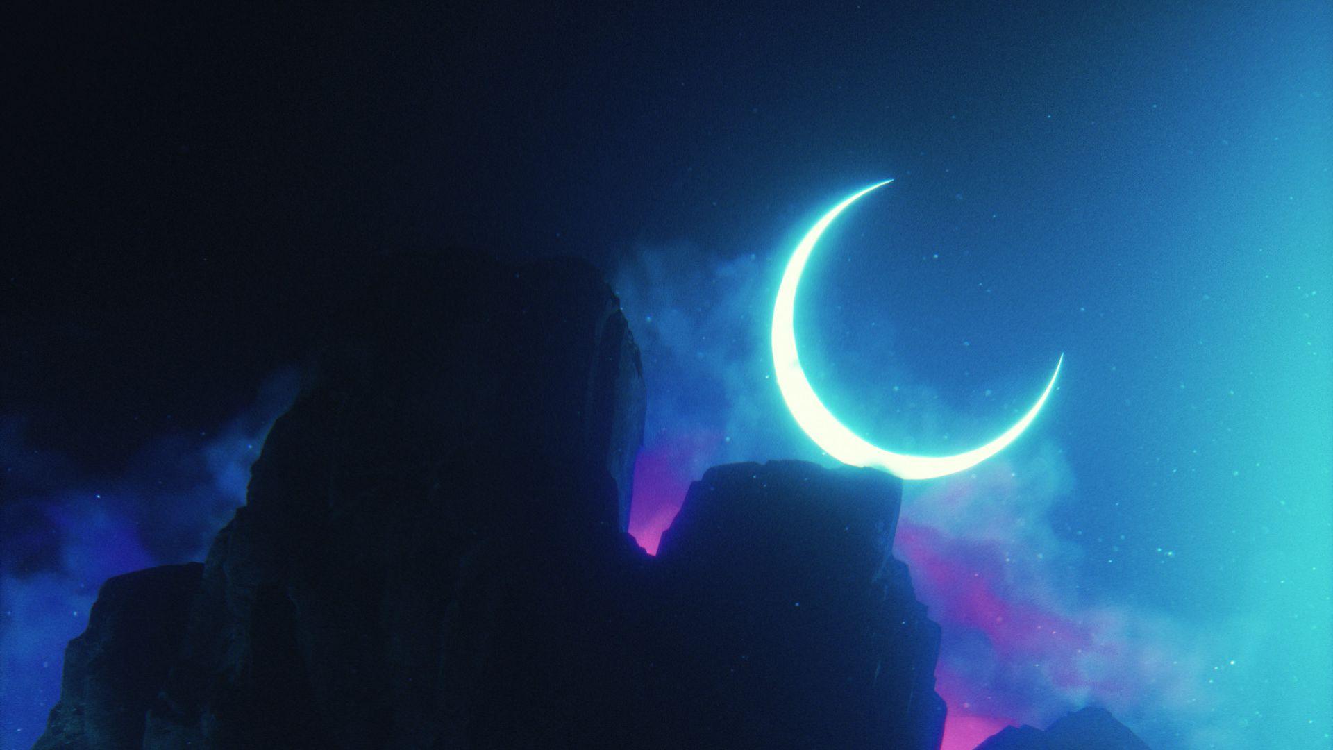 1920x1080 Wallpaper rock, neon, smoke, moon, light, bright