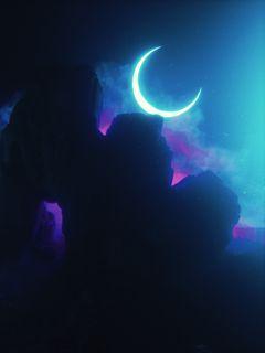 240x320 Wallpaper rock, neon, smoke, moon, light, bright
