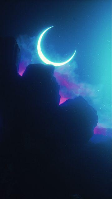360x640 Wallpaper rock, neon, smoke, moon, light, bright
