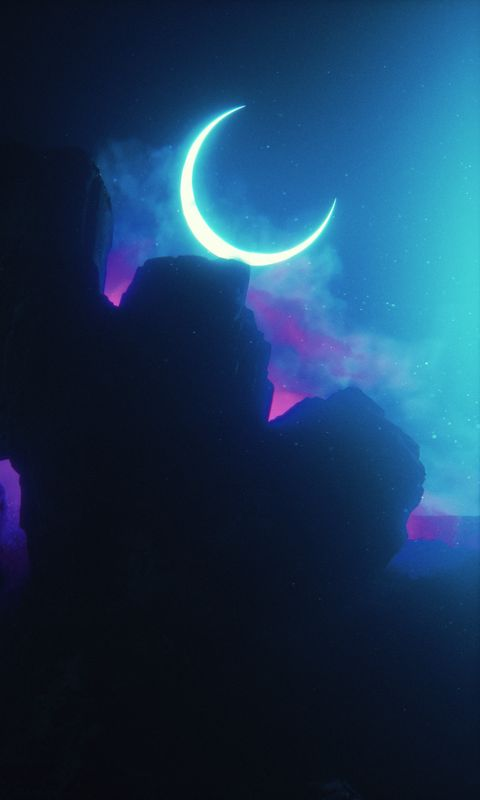 480x800 Wallpaper rock, neon, smoke, moon, light, bright