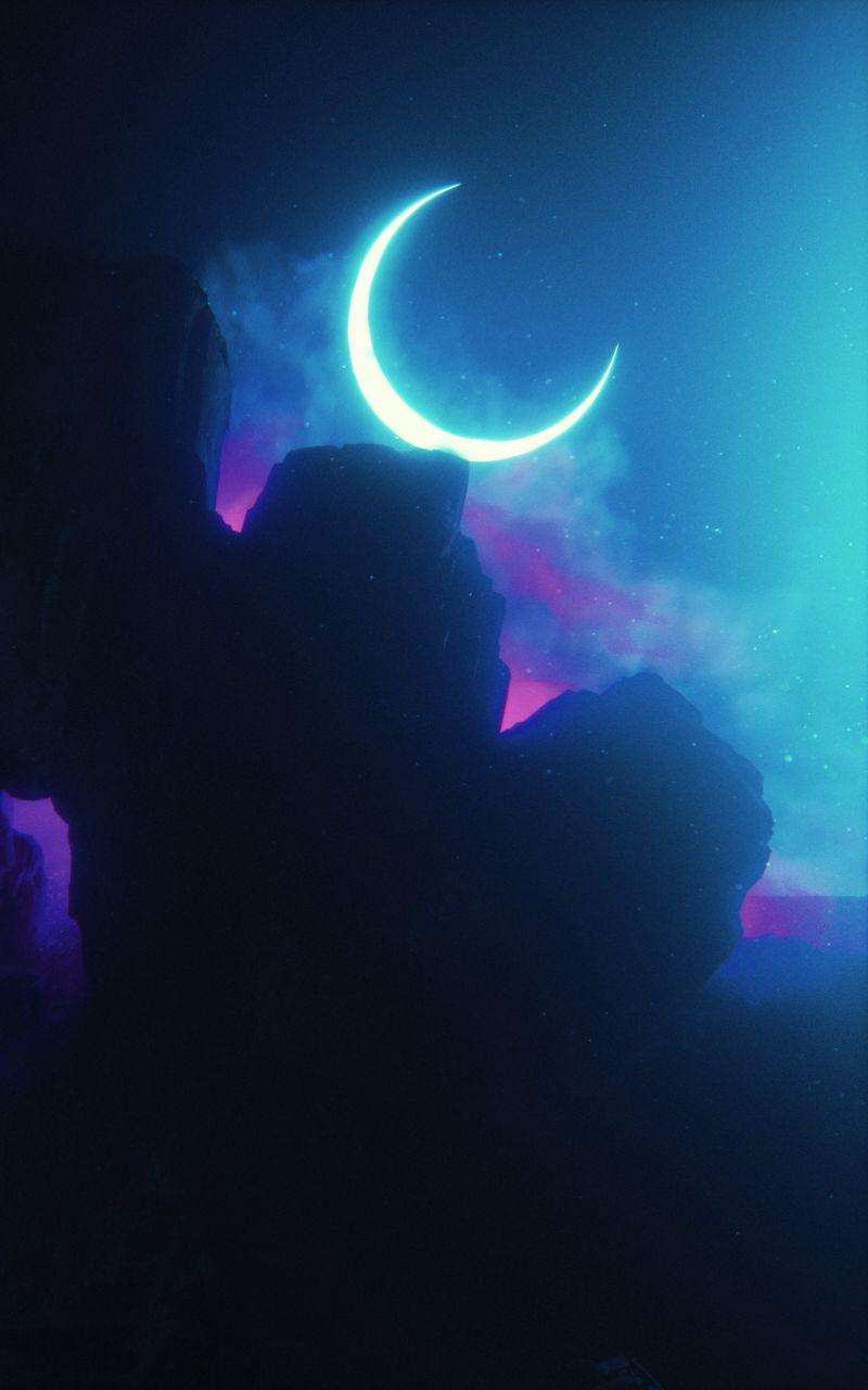 800x1280 Wallpaper rock, neon, smoke, moon, light, bright
