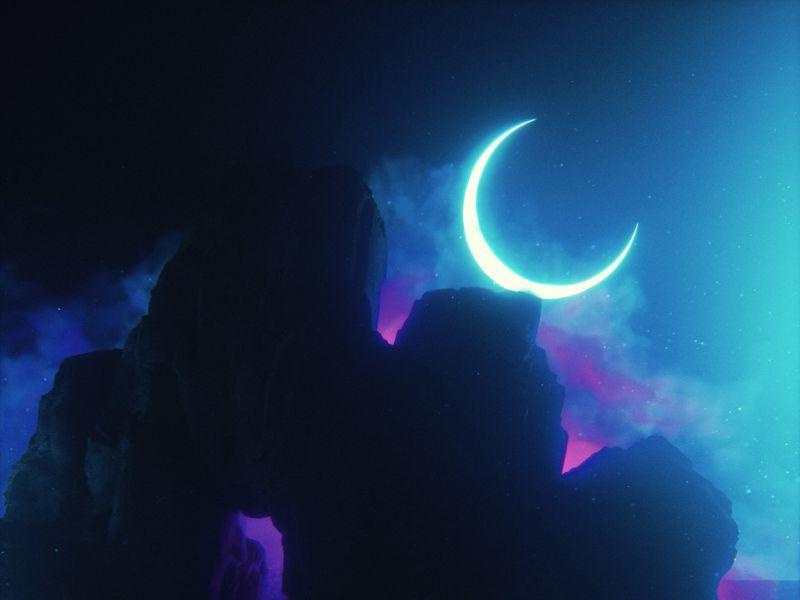 800x600 Wallpaper rock, neon, smoke, moon, light, bright