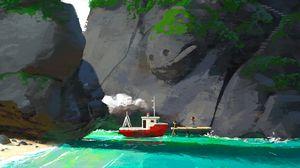 Preview wallpaper rock, sea, art, ship, child, house