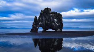 Preview wallpaper rock, sea, coast, basalt stack, hvitserkur, iceland