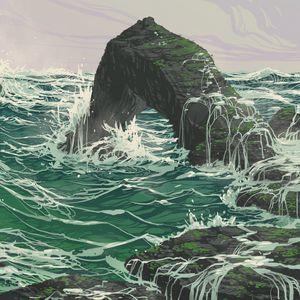 Preview wallpaper rock, waves, sea, art, vector