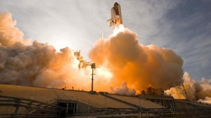 Preview wallpaper rocket, flying, sky, smoke