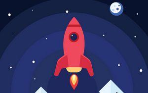 Preview wallpaper rocket, launch, smoke, art