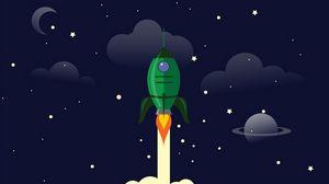 Preview wallpaper rocket, launch, space, art