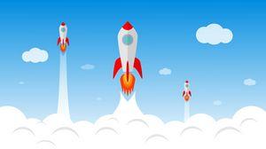 Preview wallpaper rocket, launching, smoke, sky, art