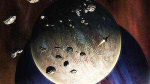 Preview wallpaper rocket, planets, meteorites