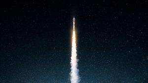 Preview wallpaper rocket, smoke, night, starry sky, space, dark