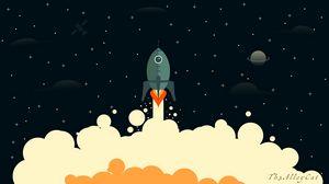 Preview wallpaper rocket, smoke, space, art, vector