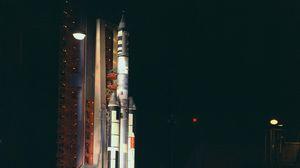 Preview wallpaper rocket, spaceport, night, light