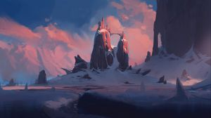 Preview wallpaper rocks, castle, winter, landscape