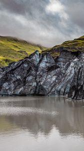 Preview wallpaper rocks, lake, clouds, nature, landscape