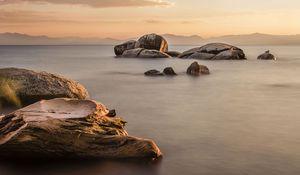 Preview wallpaper rocks, sea, water, twilight, landscape