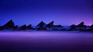Preview wallpaper rocks, mountains, peaks, fog, night, taiwan
