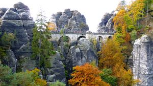 Preview wallpaper rocks, trees, bridge, landscape