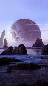 Preview wallpaper rocks, water, planets, landscape, 3d
