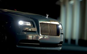 Preview wallpaper rolls-royce, front view, headlights, bumper