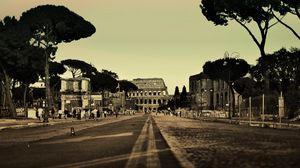 Preview wallpaper rome, italy, colosseum, city, street, people, road, trees