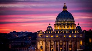 Preview wallpaper rome, italy, vatican, st peters basilica, vatican city, st peters cathedral, architecture, city, night, sky, sunset