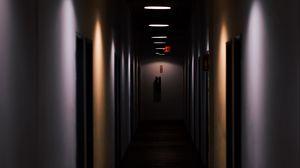 Preview wallpaper room, doors, glow, dark