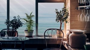 Preview wallpaper room, interior, window, view, furniture, flowers