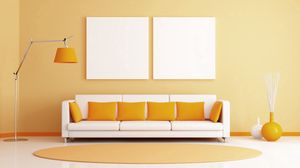 Preview wallpaper room, sofa, pillows, lamps, rug