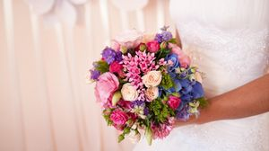 Preview wallpaper roses, flowers, bouquet, bright, bride