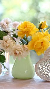 Preview wallpaper roses, flowers, diversity, dove, heart