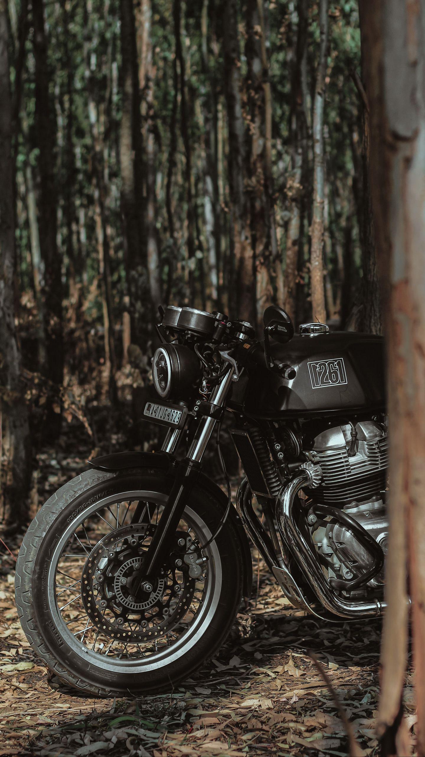 1440x2560 Wallpaper royal enfield, motorcycle, bike, black, forest