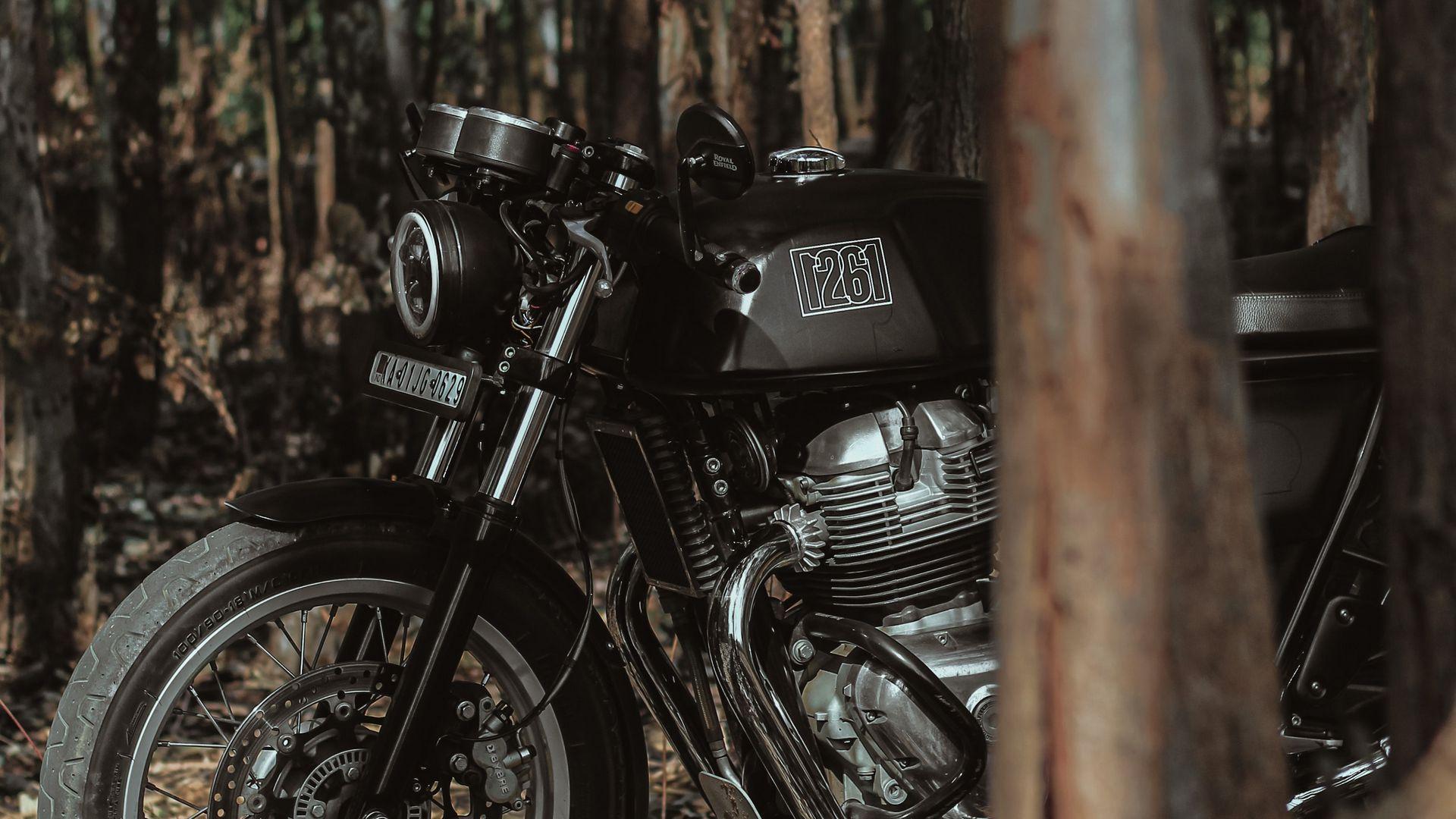 1920x1080 Wallpaper royal enfield, motorcycle, bike, black, forest