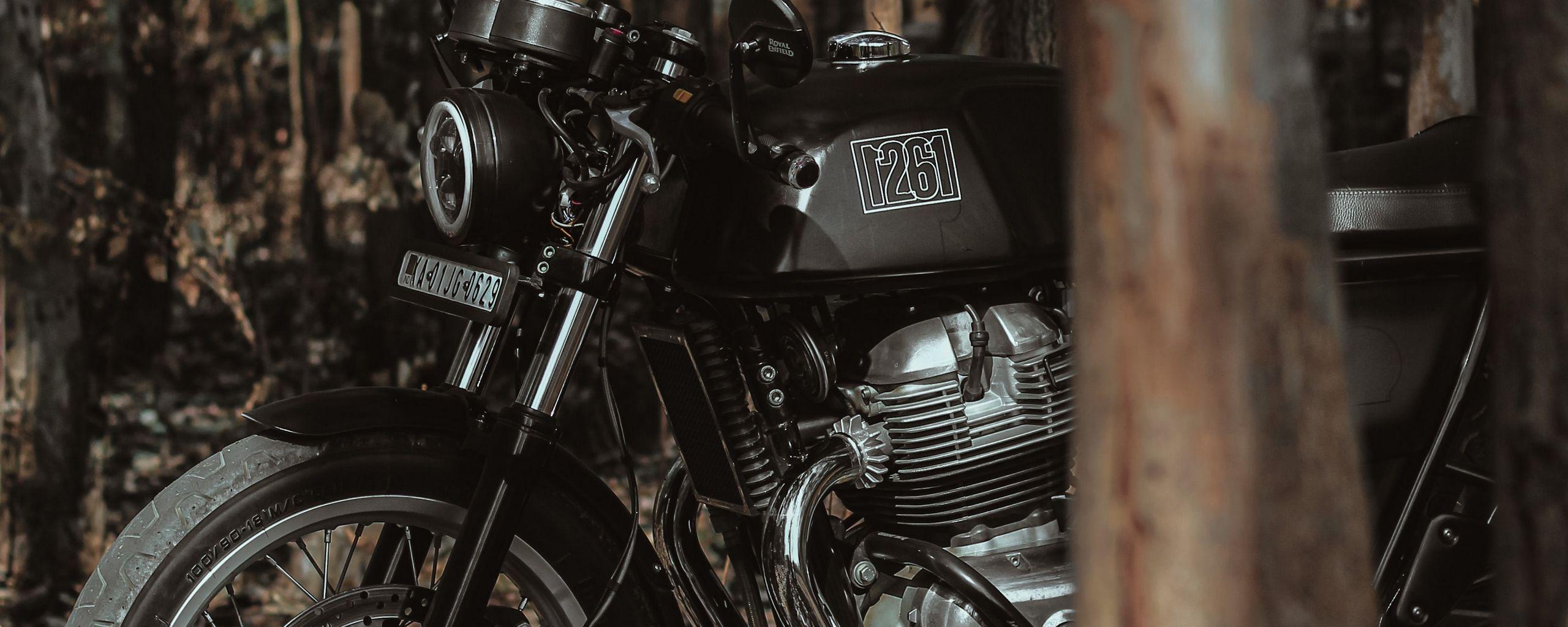 2560x1024 Wallpaper royal enfield, motorcycle, bike, black, forest