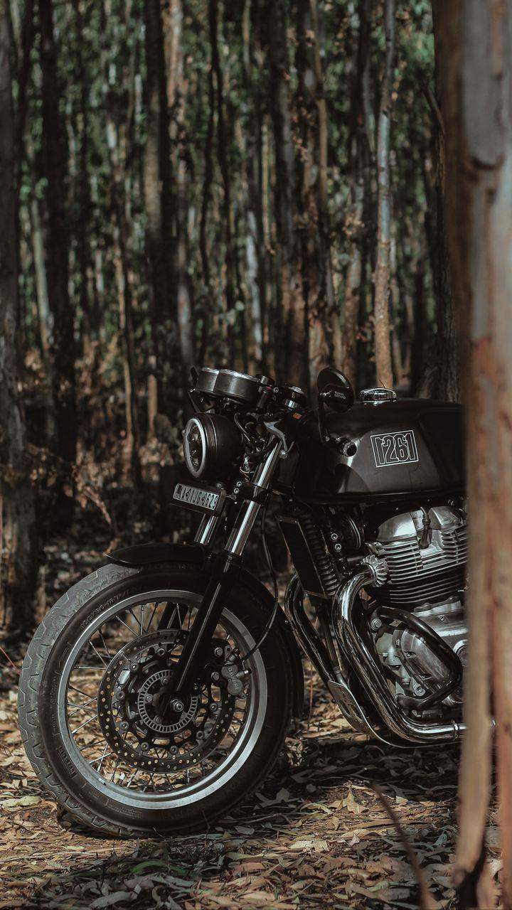 720x1280 Wallpaper royal enfield, motorcycle, bike, black, forest