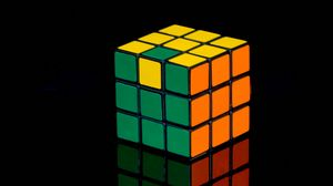 Preview wallpaper rubiks cube, cube, reflection, black, colorful