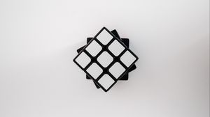 Preview wallpaper rubiks cube, cube, aerial view, white