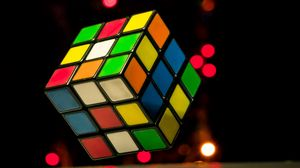 Preview wallpaper rubiks cube, cube, colorful, glare, lights