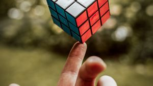 Preview wallpaper rubiks cube, hand, fingers, touch