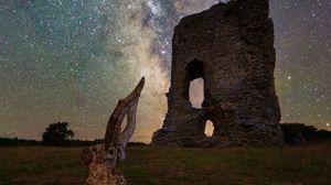 Preview wallpaper ruins, driftwood, nebula, stars, night