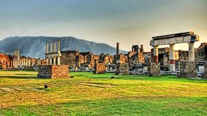 Preview wallpaper ruins, greece, grass, stone, columns